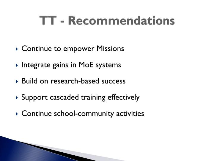 TT - Recommendations