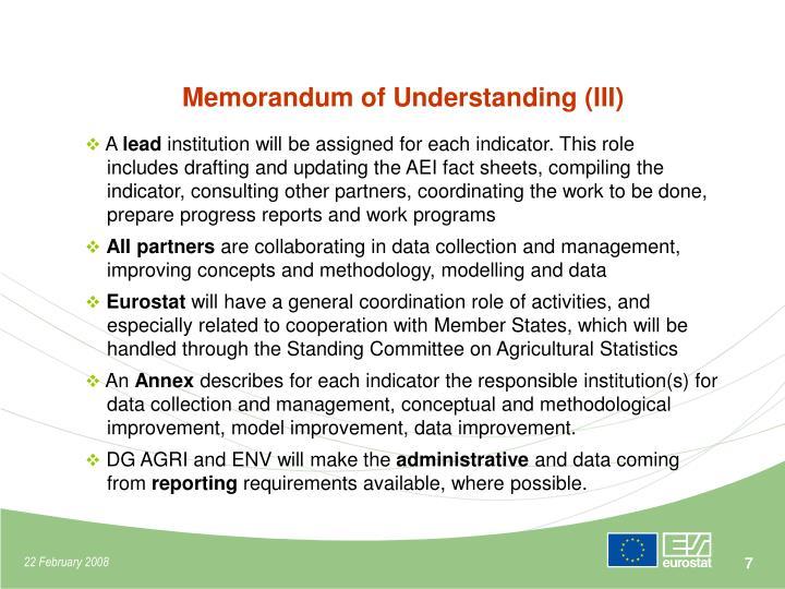 Memorandum of Understanding (III)