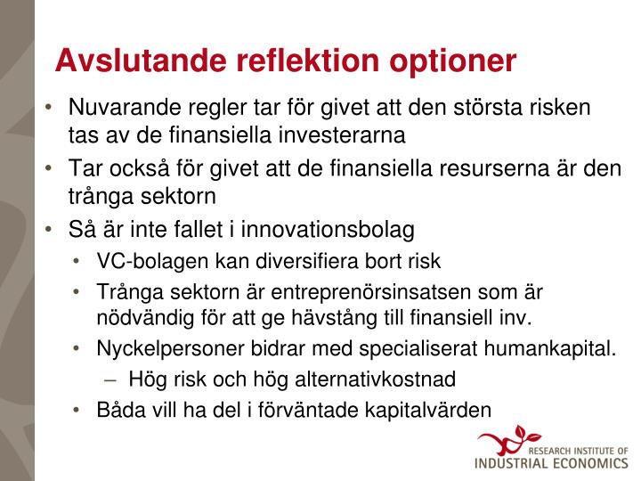 Avslutande reflektion optioner