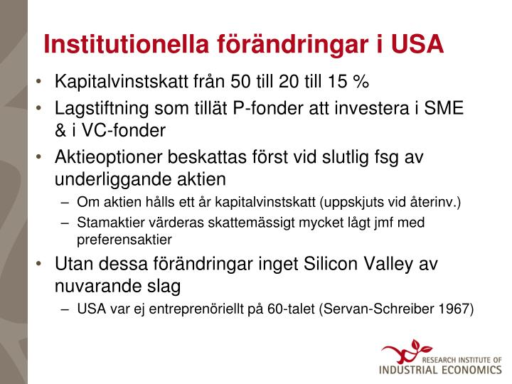Institutionella förändringar i USA