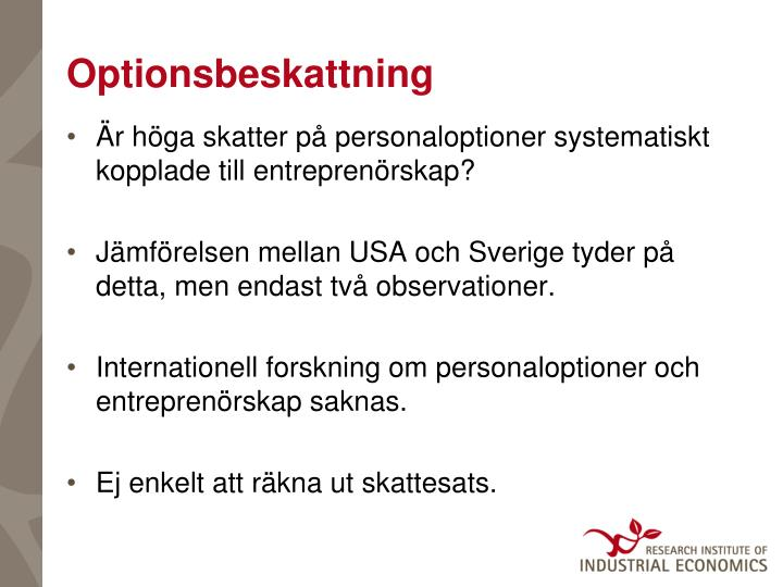 Optionsbeskattning