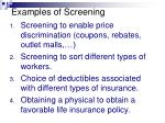 examples of screening