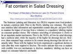 fat content in salad dressing