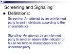 screening and signaling