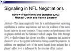 signaling in nfl negotiations