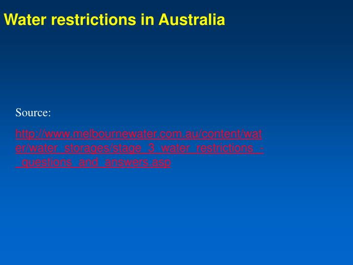 Water restrictions in Australia