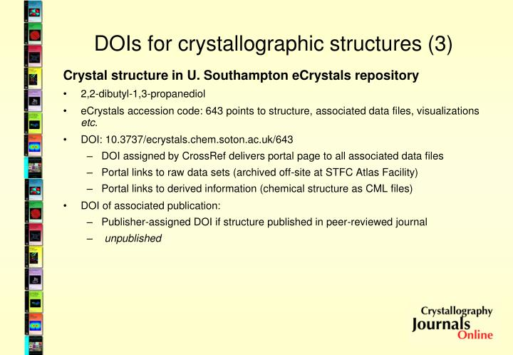 DOIs for crystallographic structures (3)