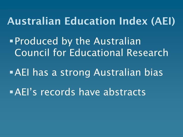 Australian Education Index (AEI)