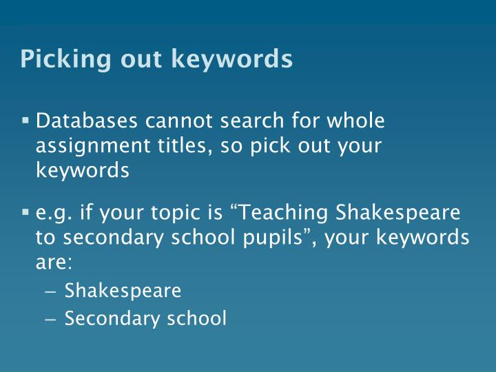 Picking out keywords