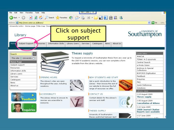Click on subject support