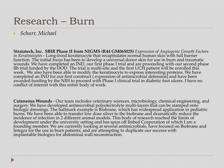 Research – Burn