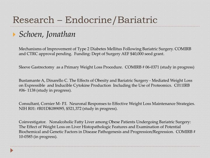 Research – Endocrine/Bariatric