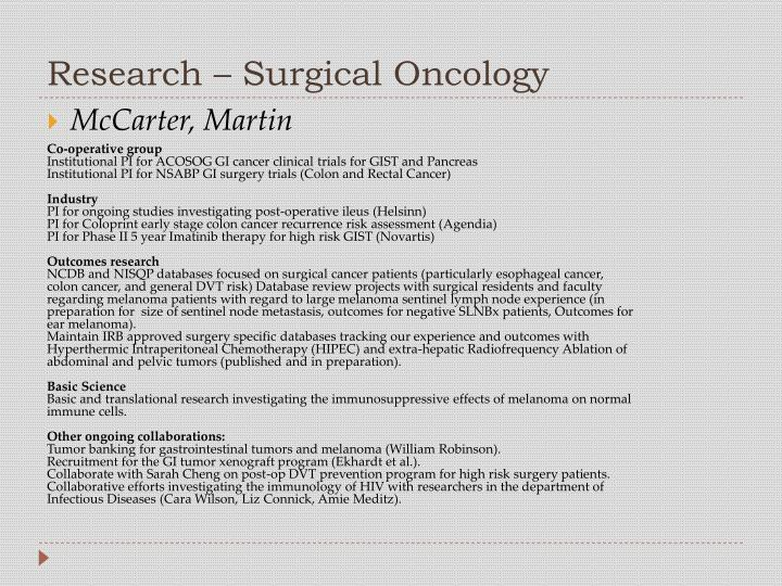 Research – Surgical Oncology