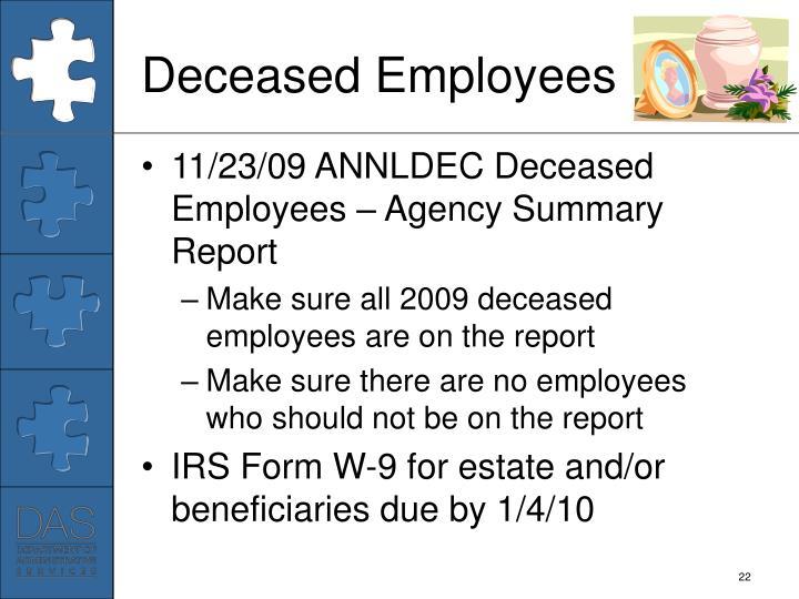 Deceased Employees