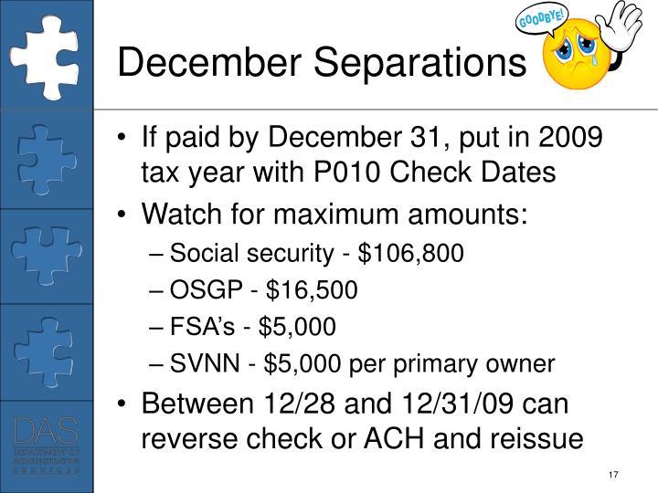 December Separations