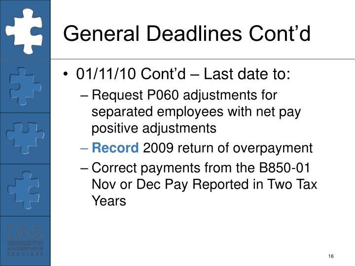 General Deadlines Cont'd