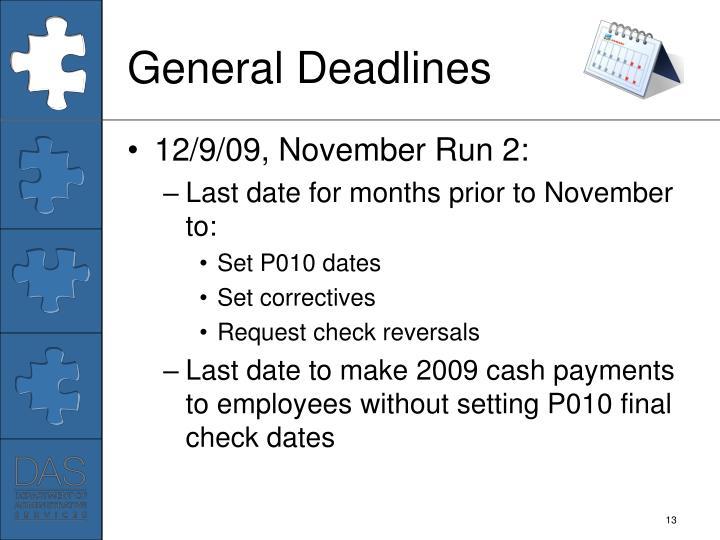 General Deadlines