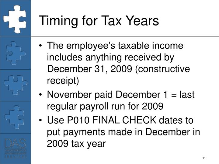 Timing for Tax Years