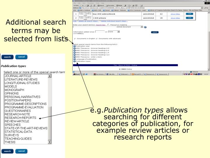 Additional search terms may be selected from lists