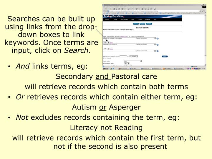 Searches can be built up using links from