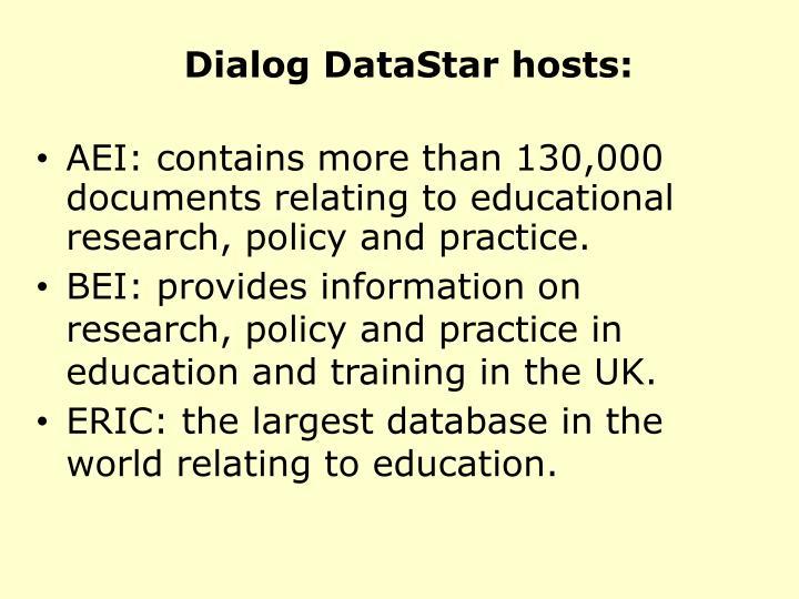 Dialog DataStar hosts: