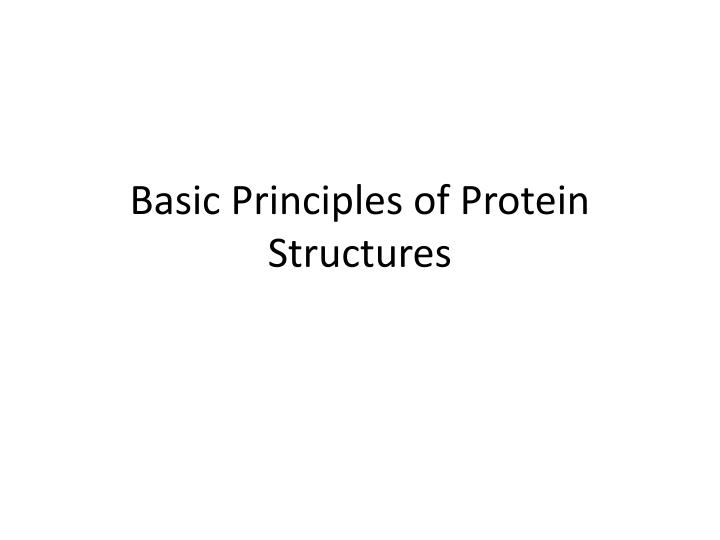 basic principles of protein structures n.