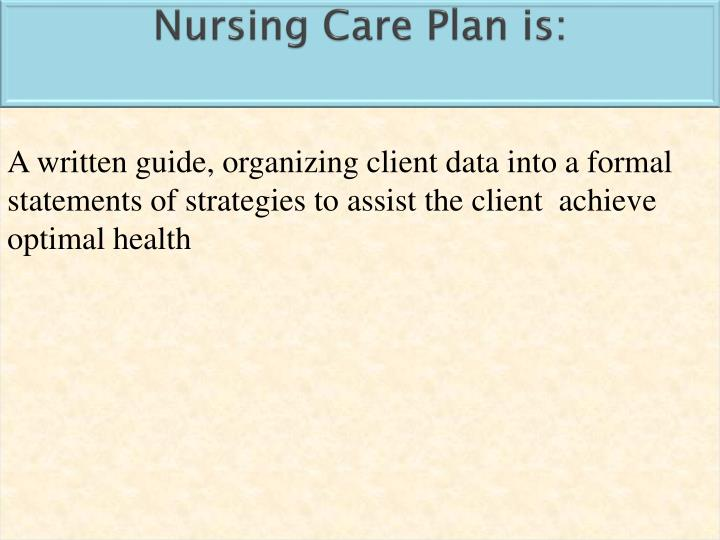 Nursing Care Plan is: