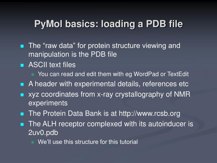 PyMol basics: loading a PDB file