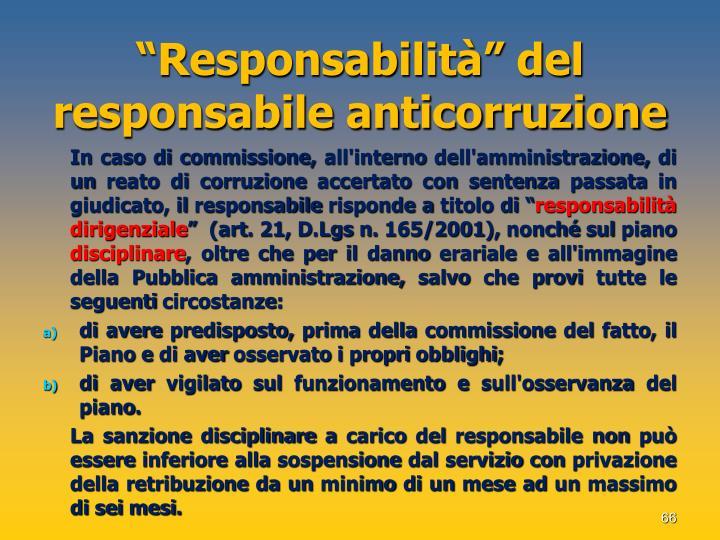 """""""Responsabilità"""" del responsabile anticorruzione"""