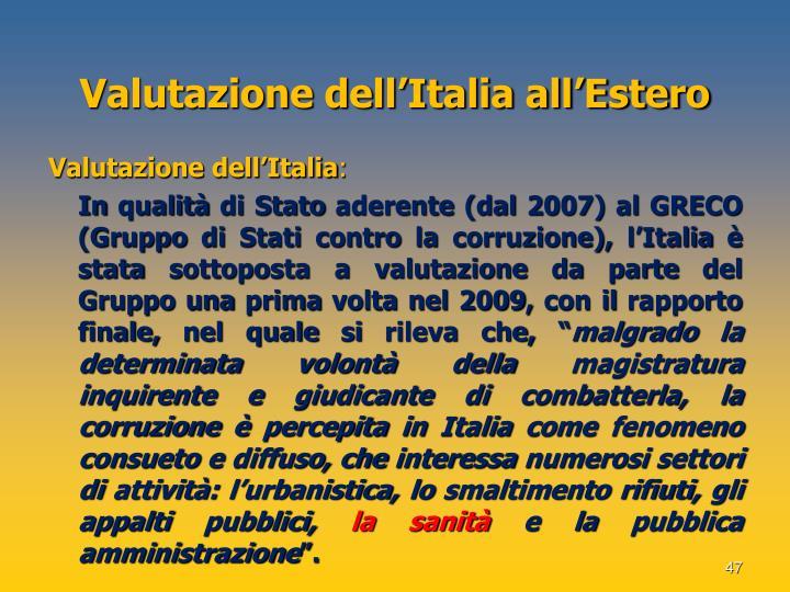 Valutazione dell'Italia all'Estero