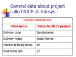 general data about project called nice at infosys