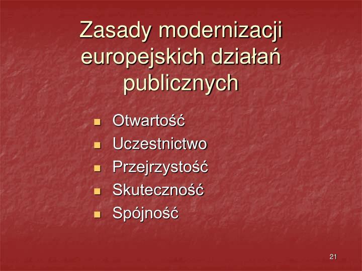 Zasady modernizacji europejskich działań publicznych
