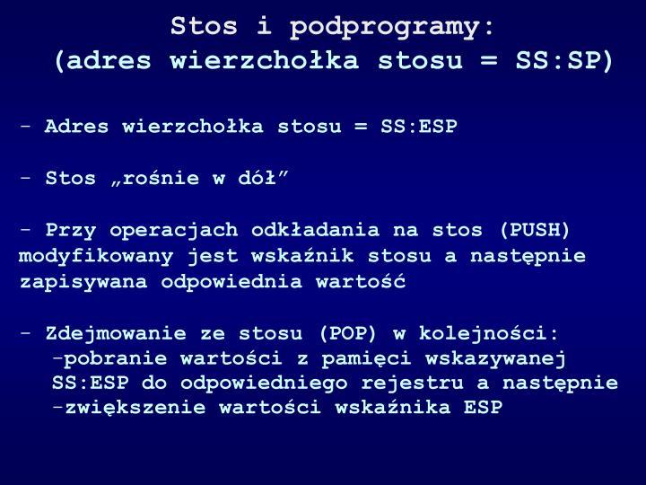 Stos i podprogramy:
