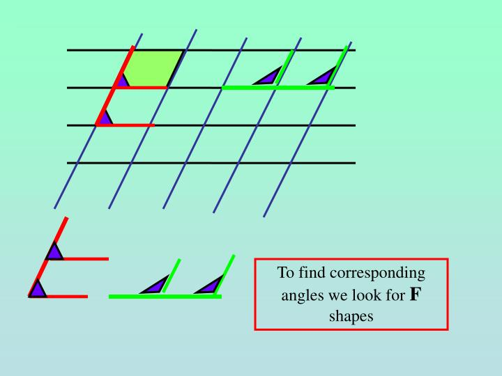 To find corresponding angles we look for