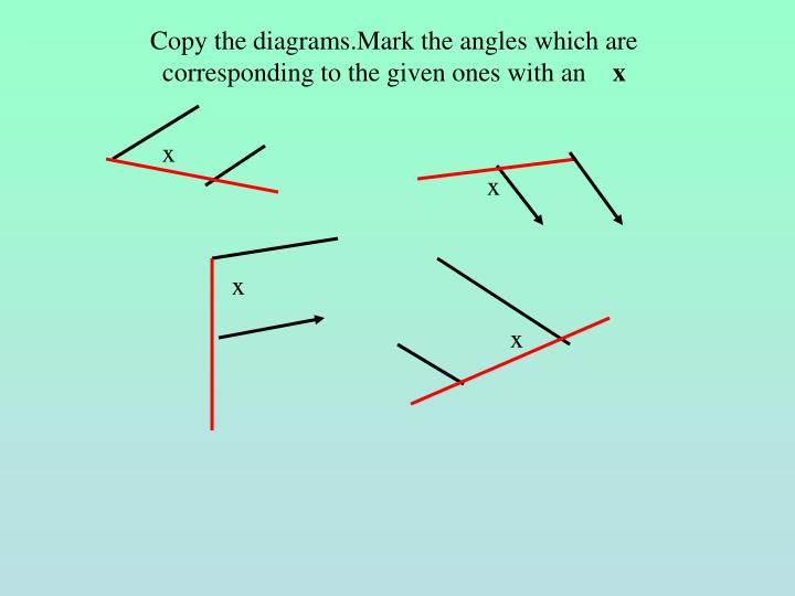 Copy the diagrams.Mark the angles which are  corresponding to the given ones with an