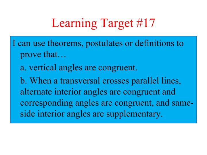 Learning target 17