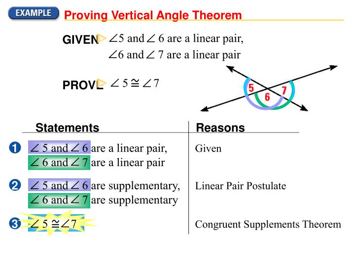 Proving Vertical Angle Theorem
