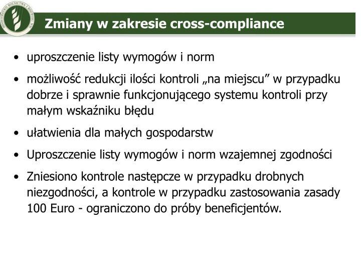 Zmiany w zakresie cross-compliance
