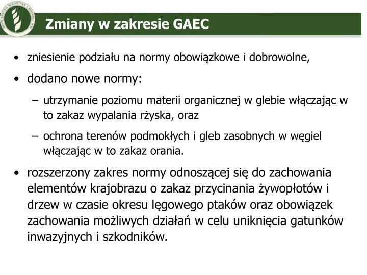 Zmiany w zakresie GAEC