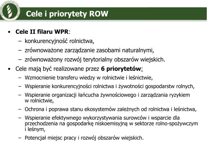 Cele i priorytety ROW