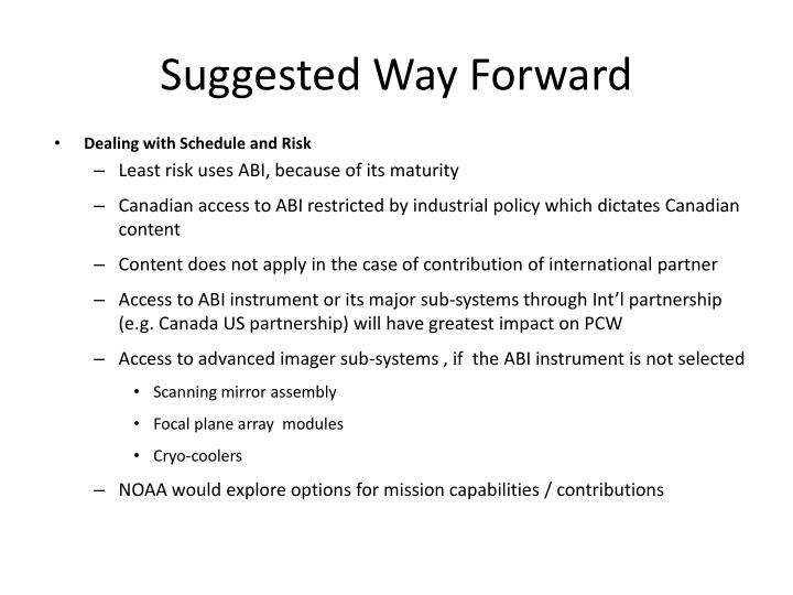Suggested Way Forward