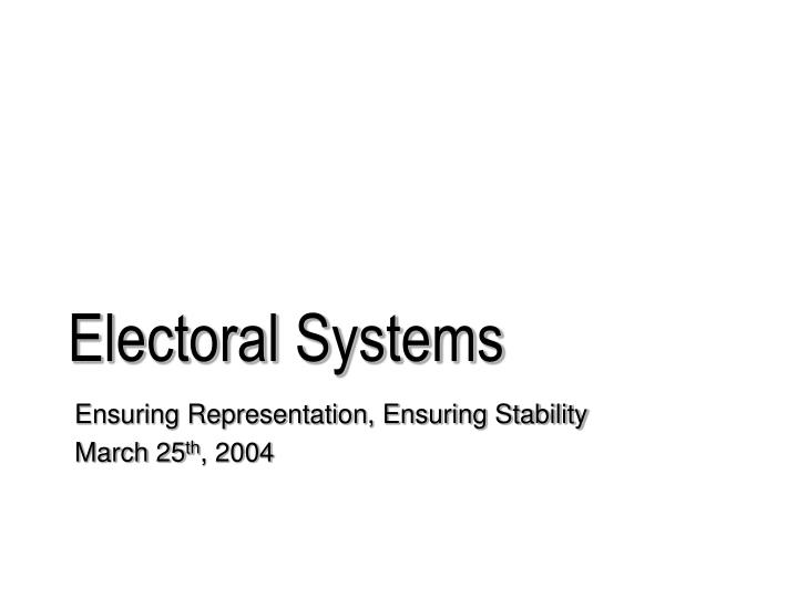 electoral systems n.