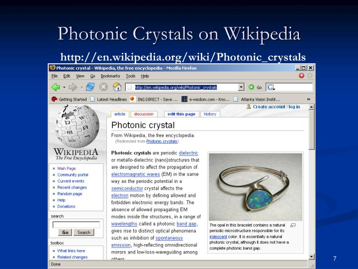Photonic Crystals on Wikipedia
