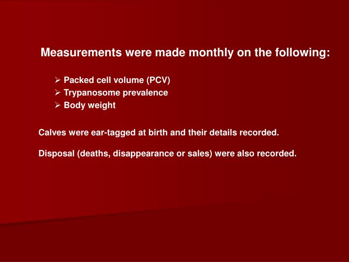 Measurements were made monthly on the following:
