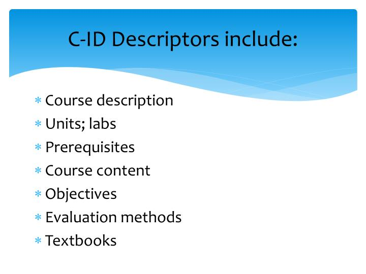 C-ID Descriptors include: