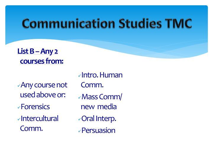 Communication Studies TMC