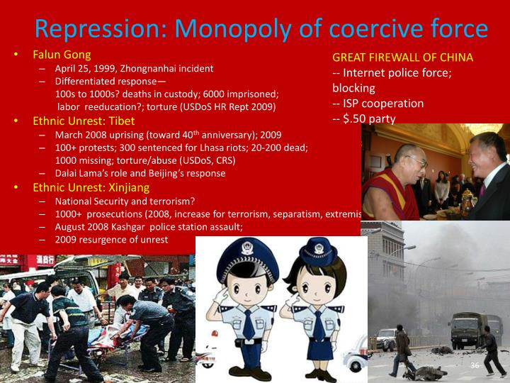 Repression: Monopoly of coercive force