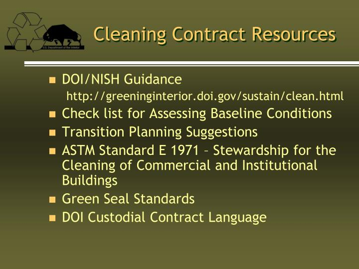 Cleaning Contract Resources
