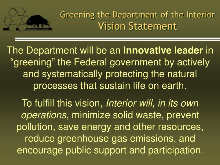 Greening the department of the interior vision statement