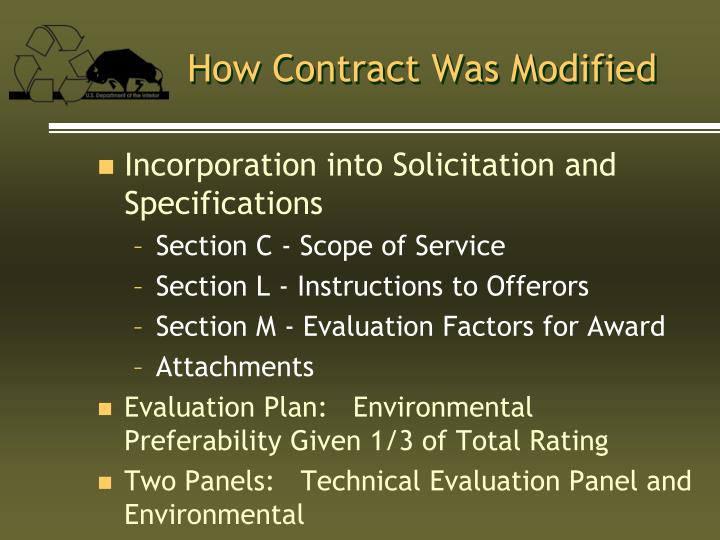 How Contract Was Modified
